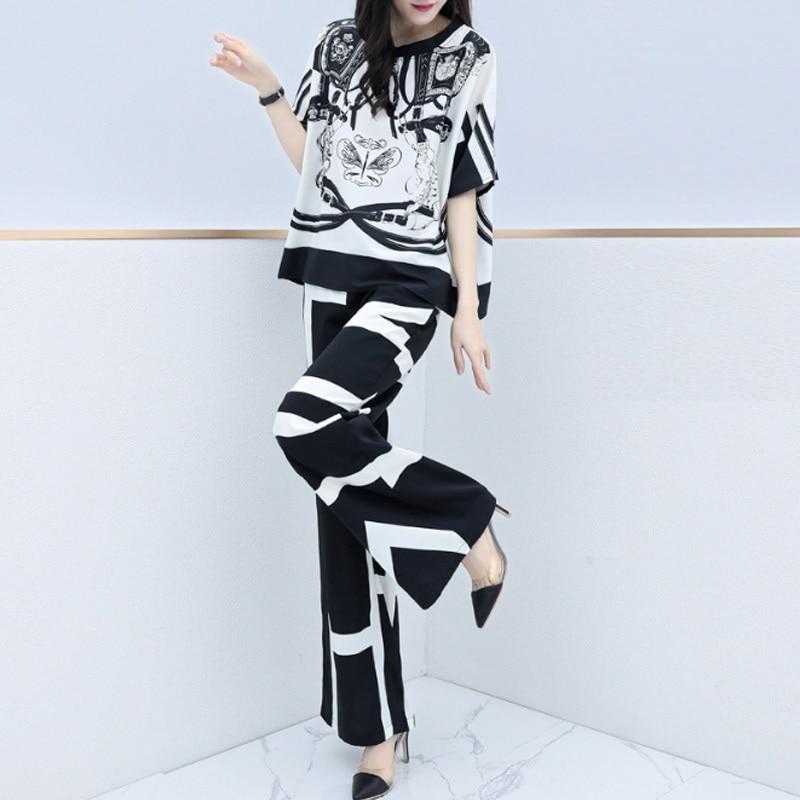 2020 new summer fashion elegant casual pants sets 2 pieces set women sleeve blouse legs Women Outfits Plus Size Short Sleeve