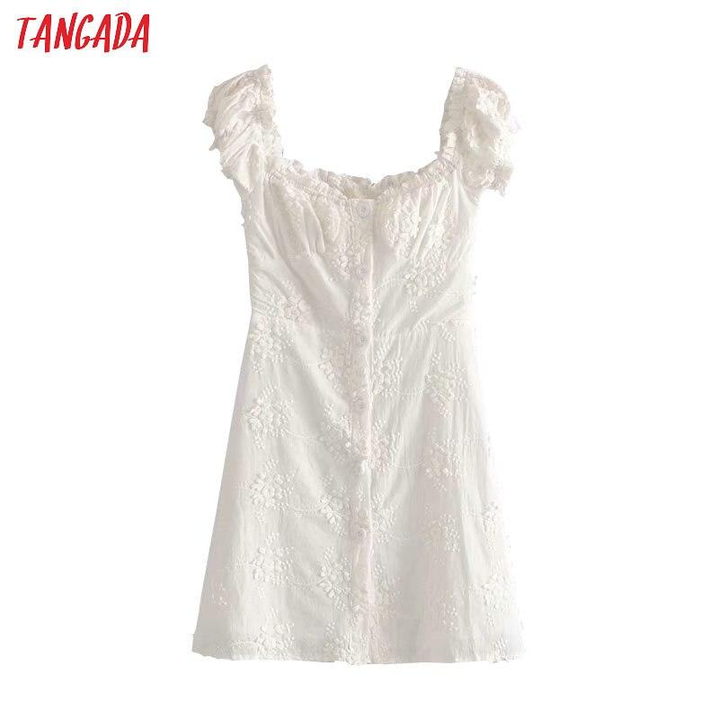 Tangada moda mujer blanco bordado algodón vestido estilo francés manga corta señoras verano playa vestidos 1T17