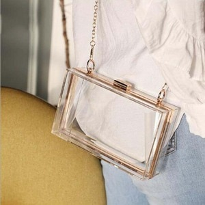 Transparent Ladies Bag 2020 Acrylic Color Box Brand Ladies Evening Dress Portable Messenger Bag Wedding Female Clutch Bag
