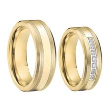 Amour Alliance or couleur carbure de tungstène bijoux bague proposition mariage couple anneaux de mariage pour hommes et femmes