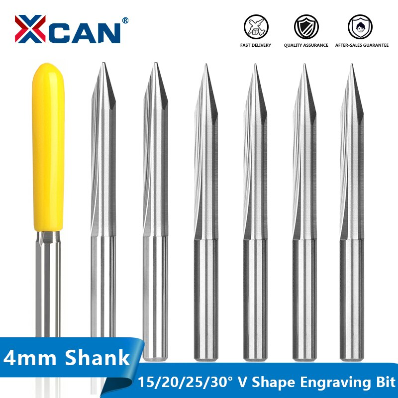 XCAN 2 Flute Straight Milling Cutter 4mm Shank V Shape End Mill For Wood Acrylic PVC Plywood Carving CNC Router Engraving Bit