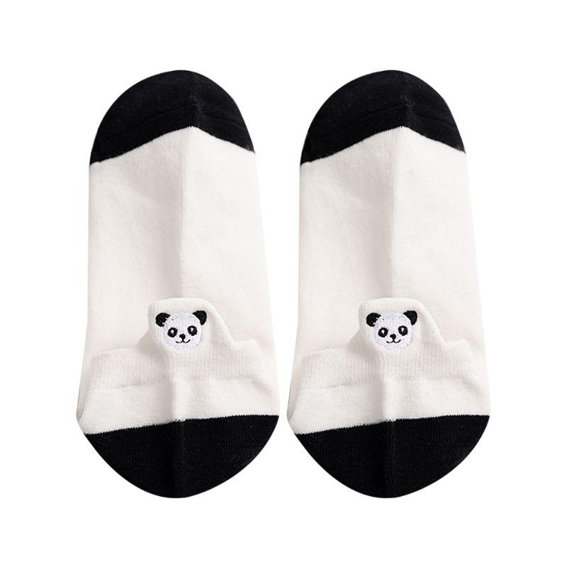 Милые хлопковые носки-башмачки с вышивкой панды для девочек короткие Чулочные изделия в черно-белую полоску с низким вырезом