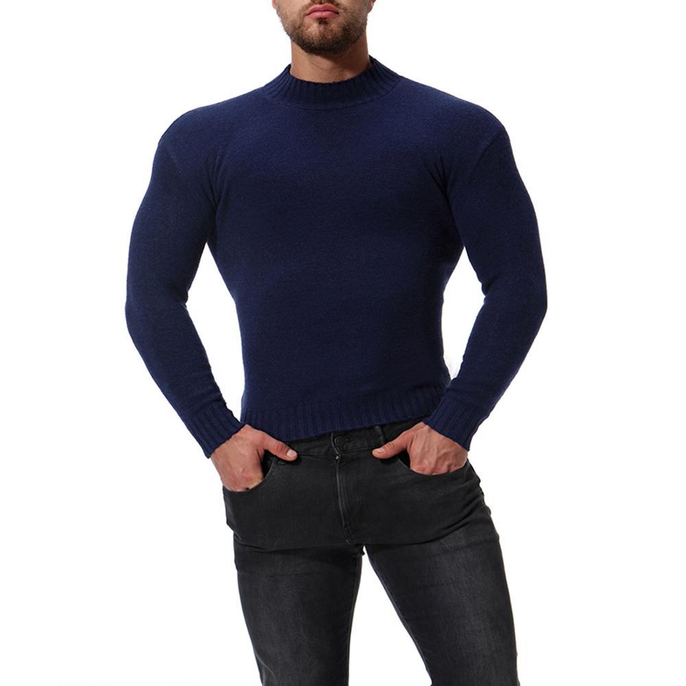 Jersey grueso y cálido liso de invierno con cuello redondo para hombre