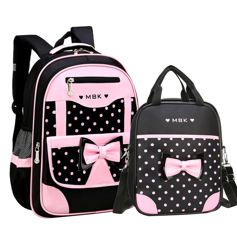 DIOMO 6-12 Year Old child's School Bag Set for Girl Fashion Dot Cute Bow School Backpack Starting Sc