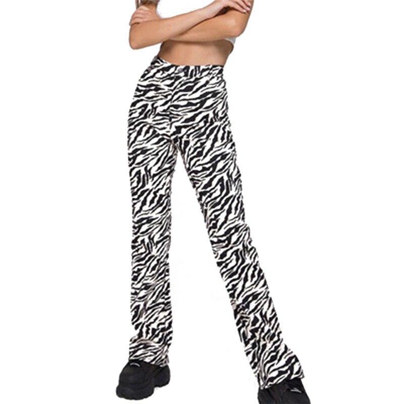 Las mujeres de moda estampado de cebra pantalones nuevos de cintura alta pantalones de talla grande Casual mujer Oficina dama pantalones de primavera y verano