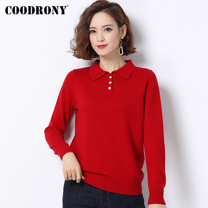 COODRONY Brand 2020 Autumn Winter Turn-Down Collar Soft Wool Sweaters Female New Knitted Pullover Slim Women's Clothing W1004 enlarge