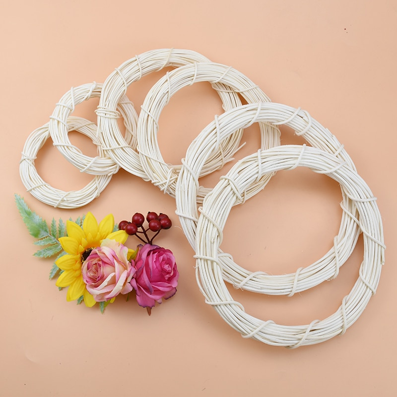 10/15/20cm White Rattan Ring Artificial flowers Garland Dried flower frame For Christmas Home Decor DIY floral wedding Wreaths
