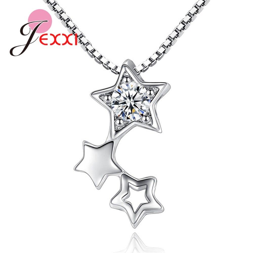 Bonitas estrellas centelleantes, Gargantilla para mujer, Collar, collares de lujo, Plata de Ley 925, transparente, circón cúbico, joyería para el cuello