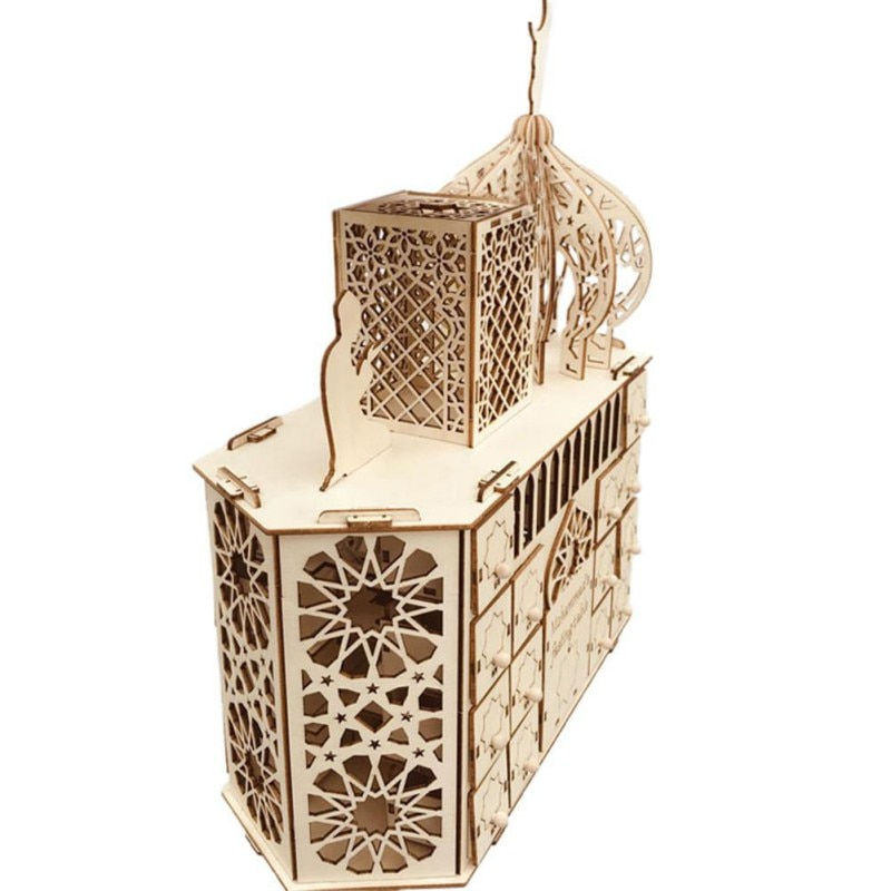 Wooden Eid Mubarak Wooden DIY Palace LED Ramadan Countdown EidMubarak Ornament Decoration