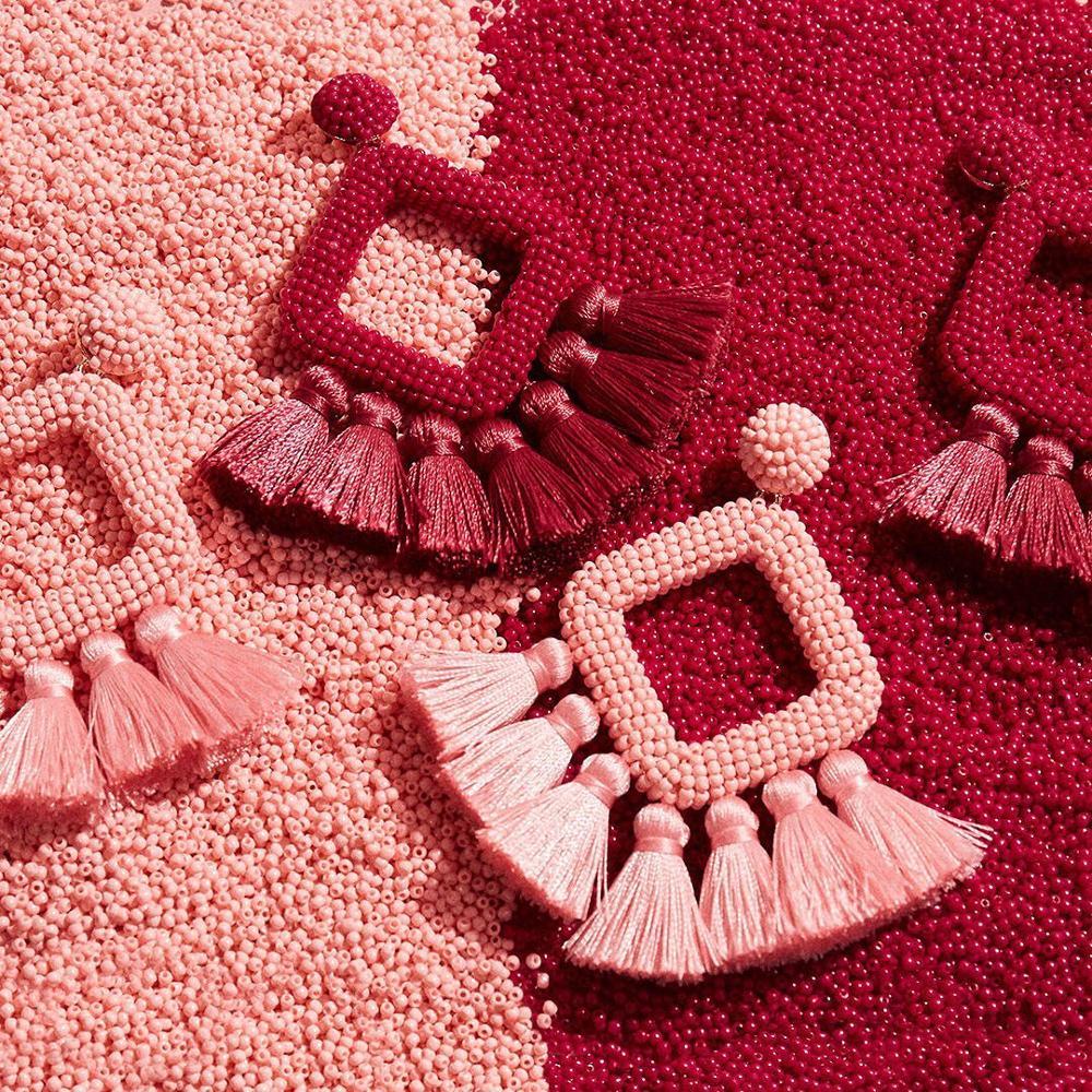 Girlgo Bauble Bar hecho a mano cuentas Rojas gota pendientes mujeres geométrica larga cuentas declaración colgante pendientes Borla colgante joyería