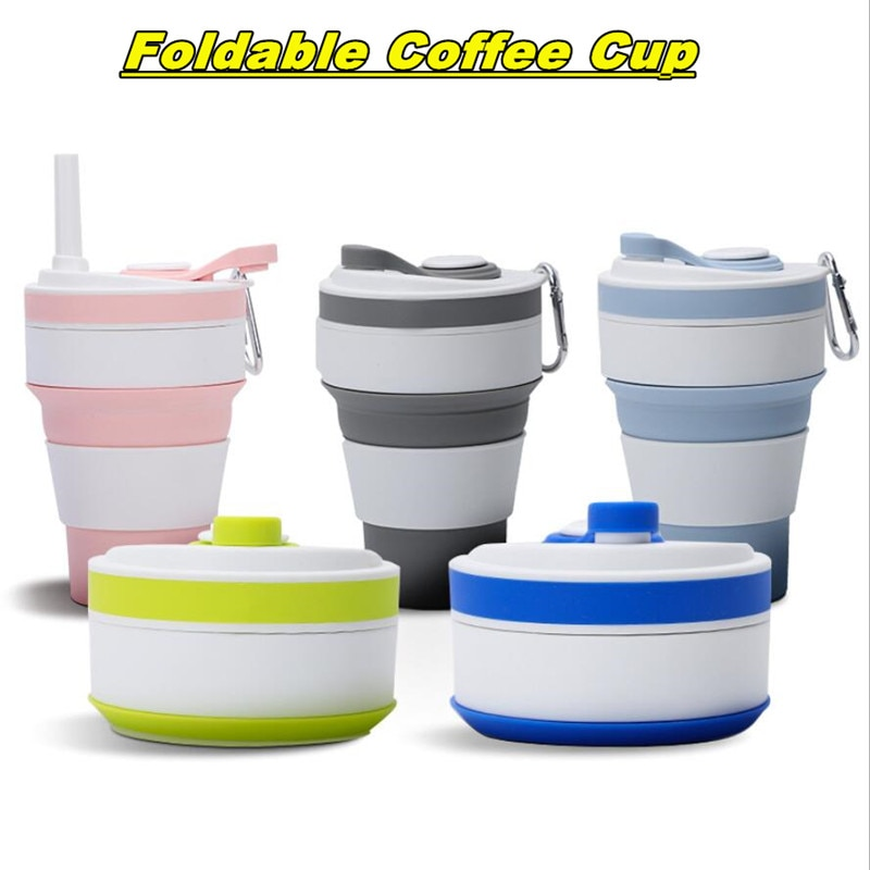 Folding Coffee Cup Food Grade Silicone Water Bottle Cup 350ml Retractable Outdoor Coffee Mug Portable Travel Tea Coffee Cups vson cloud cup smart coffee mug water drink reminder