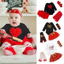 Conjunto de 4 Uds. De ropa para niños recién nacidos y niñas Amor de San Valentín Pelele de manga larga falda tutú para fiesta diademas ropa para bebé