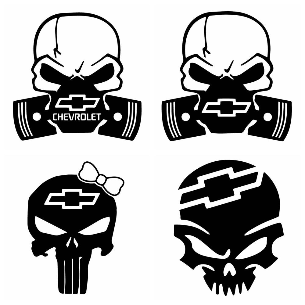 car sticker Fun Chevrolet Logo Skull Stickers On The Car Sigh Car Body Window Auto Decoration Car Styling Stickers And Decals недорого