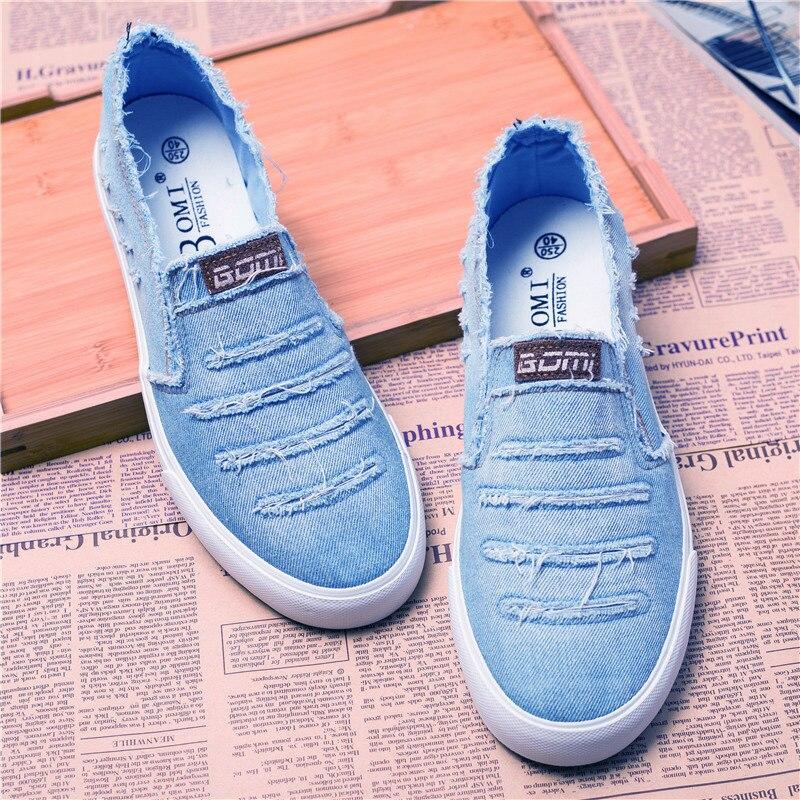 حذاء رجالي من قماش الدنيم ، حذاء موكاسين غير رسمي بدون أربطة ، لربيع وصيف 2021