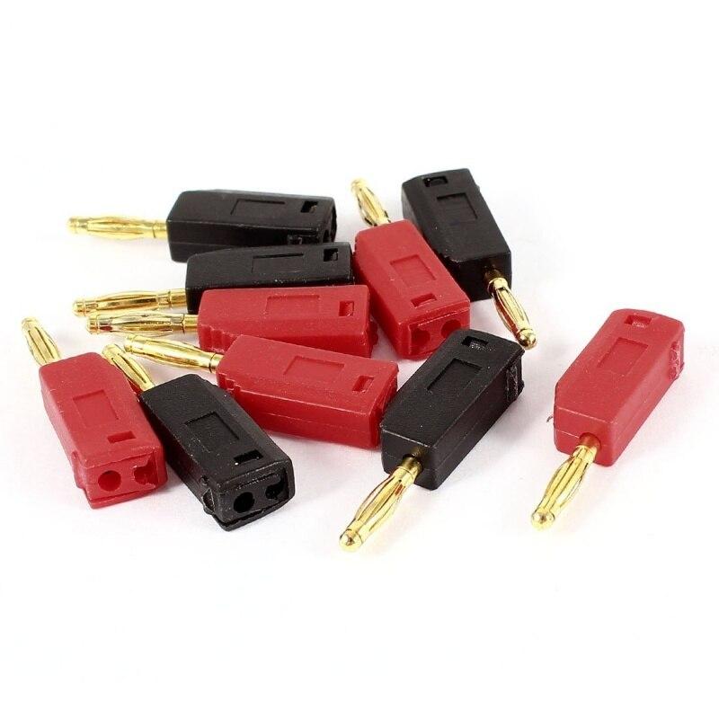 Luidsprekerkabel Kabel 2 Mm Banana Plug Aansluiting 10 Vellen Zwart + Rood