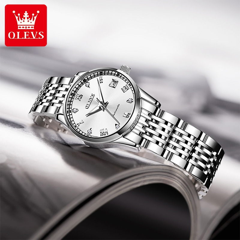 OLEVS 2021 New Ladies Automatic Mechanical Watch Fashion Diamond HD Luminous 30M Life Waterproof Compact Dial Watches 6602 enlarge