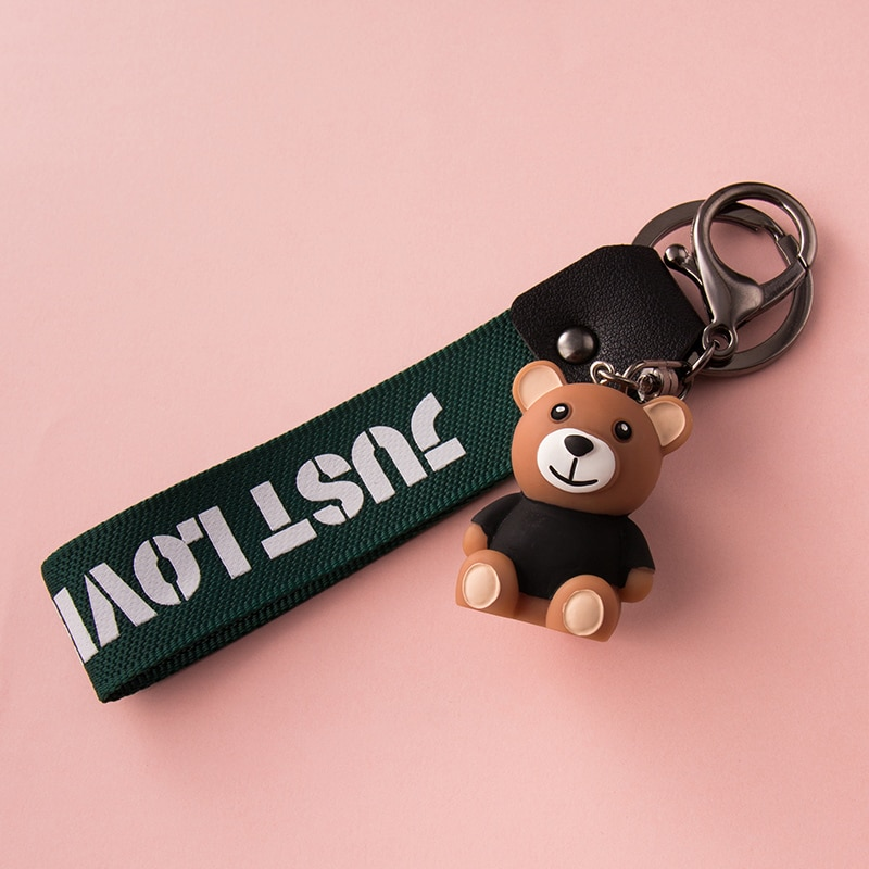 Bear key chain pendant creative personality car cute men women lovers chain ring Doll Bag Pendant 2020 headset bear key chain pendant creative cute cartoon doll keychains women bag car key ringchildren s gift toys key ring