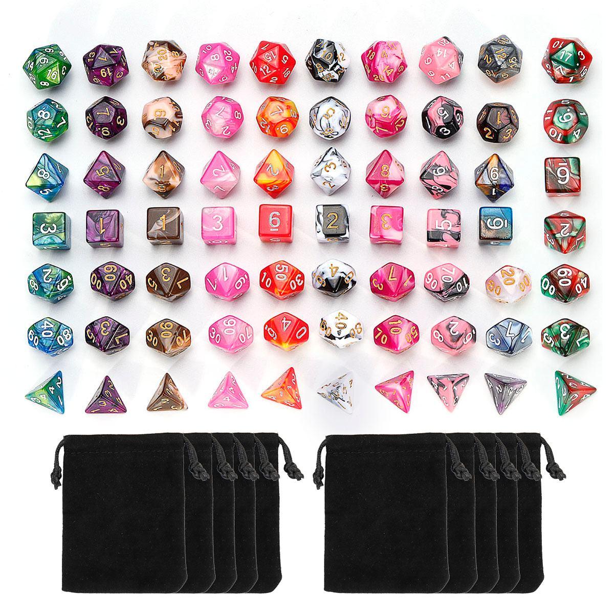 7Pcs סט קוביות Polyhedral קוביות צבע מעורב עבור תפקיד RPG משחק משחק לוח משחק קוביות סט + אחסון תיק