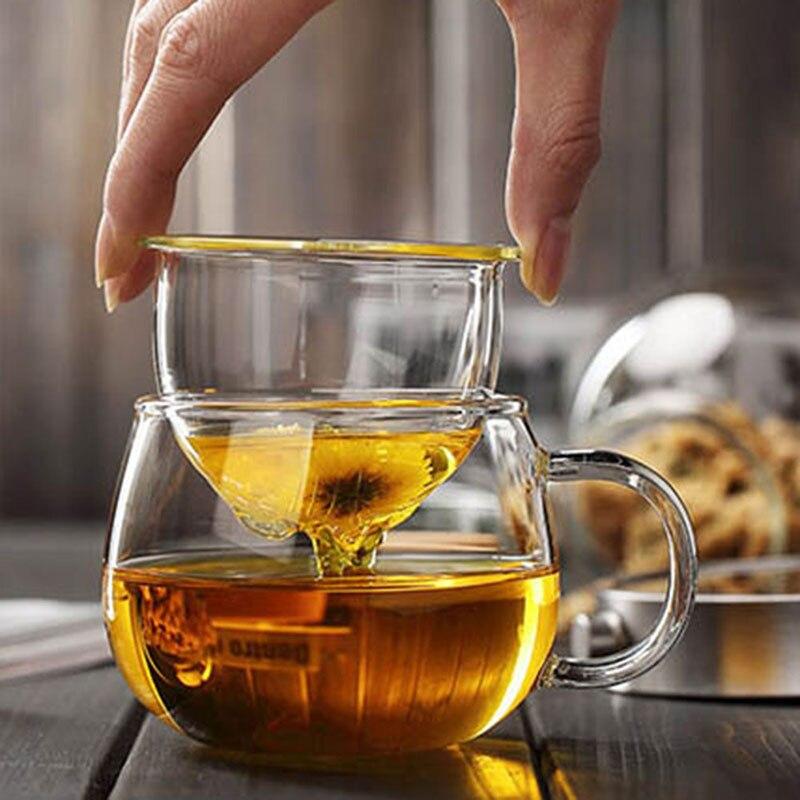 Teacup فنجان شاي غلاية مقاومة للحرارة الاقتصادية 350 مللي مطعم الزجاج مصفاة المشروبات المطبخ المنزل