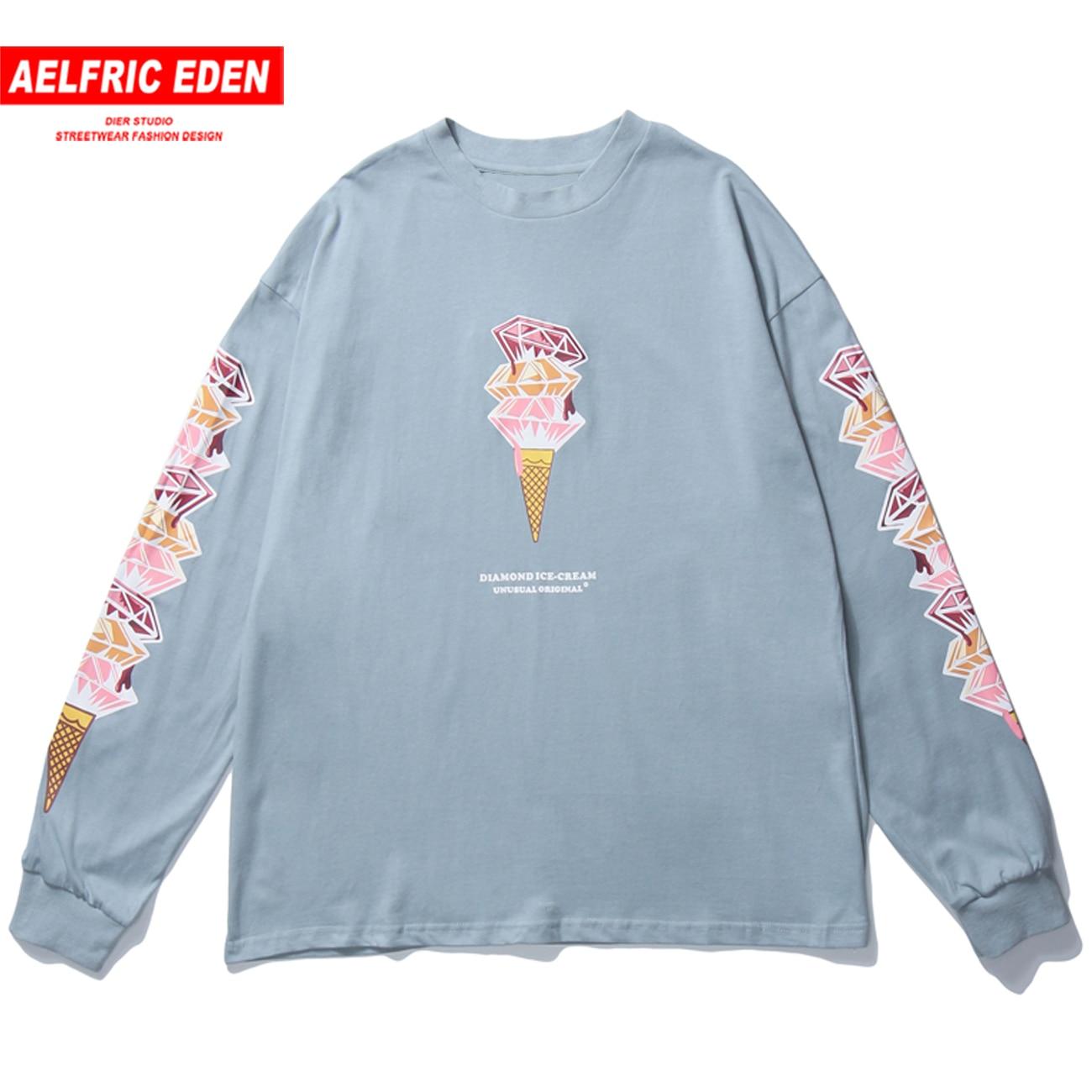 Aelfric Eden 2020 Herfst Ijs Print T-shirt Mannen Hip Hop Losse Tshirt Lange Mouwen Harajuku T-shirt Casual Tees shirts Zwart