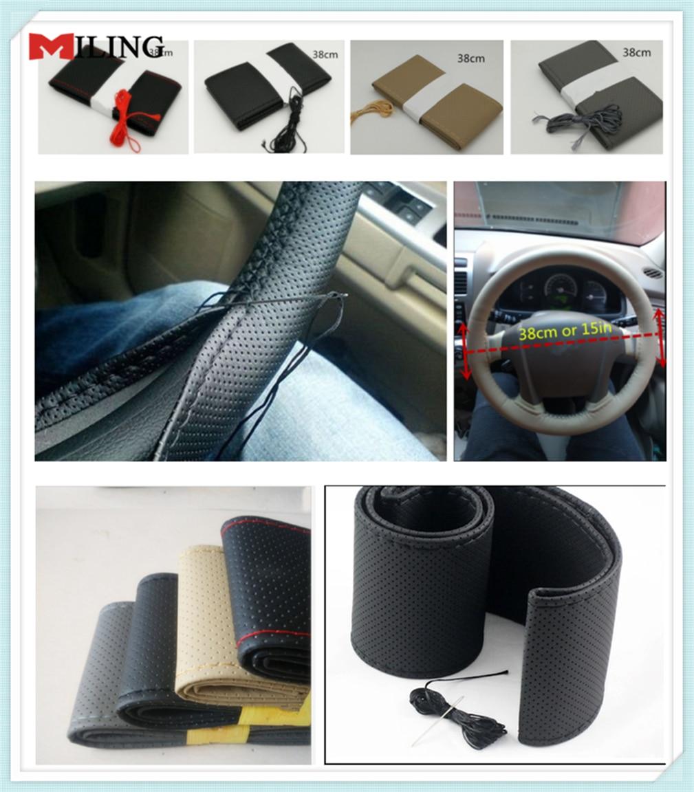 car accessories Hand sewing steering wheel cover 38CM for Nissan Armada Navara NP300 Maxima Lannia