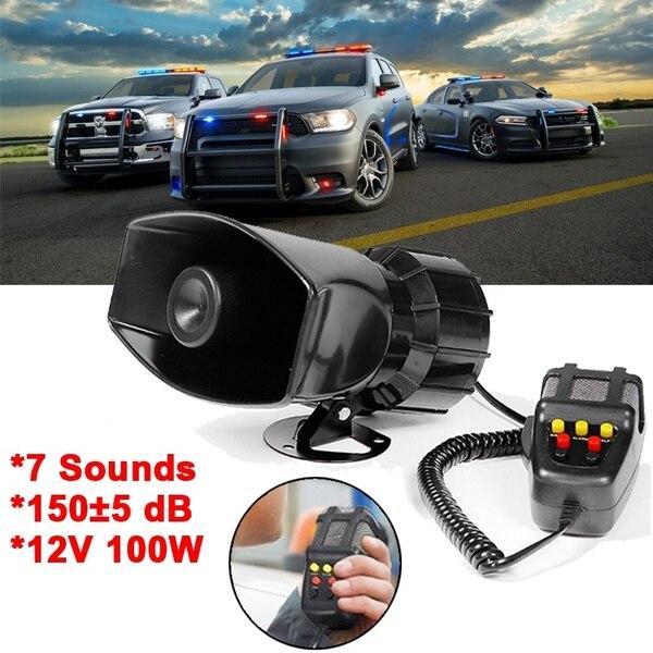 100W 12V سيارة إنذار 5 الصوت بصوت عال الشرطة النار القرن صفارة الإنذار PA المتكلم MIC نظام إنذار ميكروفون نظام كيت