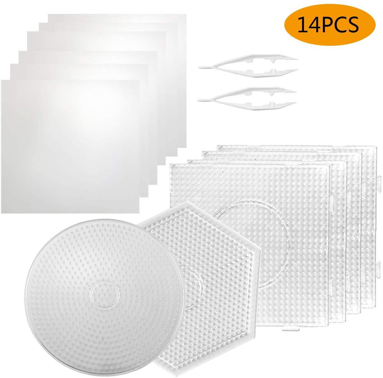 JINLETONG 6 шт., плавкие бусины, 5 мм, пластиковые плавкие шарики, шаблоны с 6 глажками, бумажные 2 пинцета для DIY 3d пазла