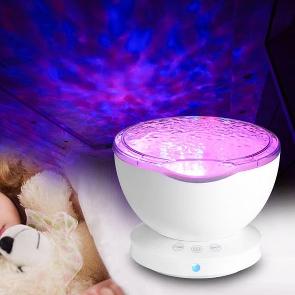 Lámpara de noche de ola de mar para dormir, bonita y cómoda lámpara de dormitorio Aurora Galaxy, proyector con bonitas estrellas, lámpara de Luna, Océano