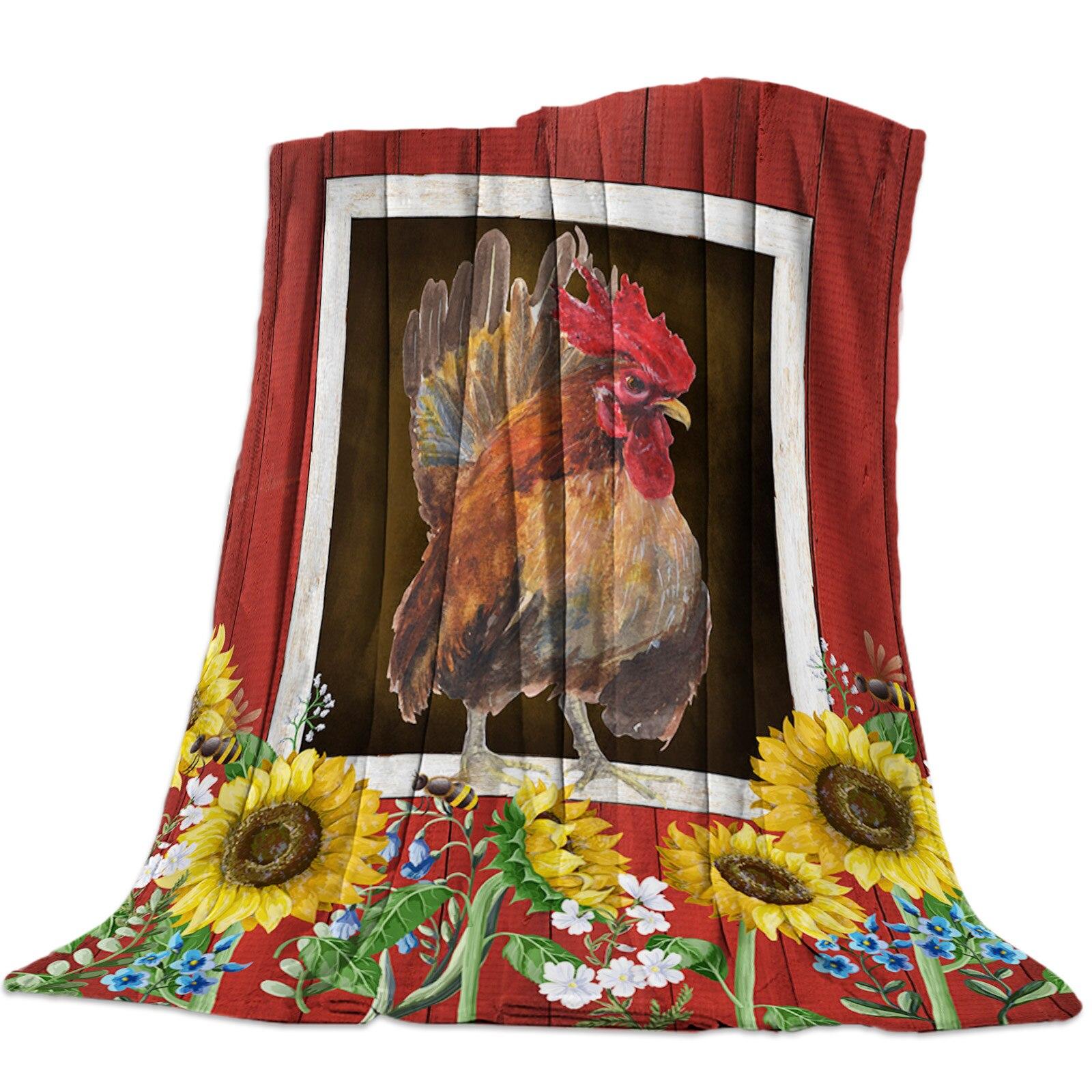 مزرعة الحظيرة الدجاج وعباد الشمس رمي بطانية بطانية ناعمة المحمولة للأريكة ستوكات الفانيلا البطانيات للأسرة