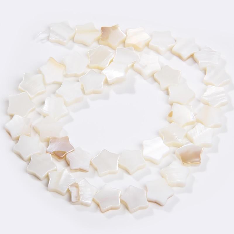 Concha blanca Natural de la madre de la perla cuentas de la cáscara de la estrella de cinco puntas para las mujeres DIY hacer joyas, pendientes collares Strand 15