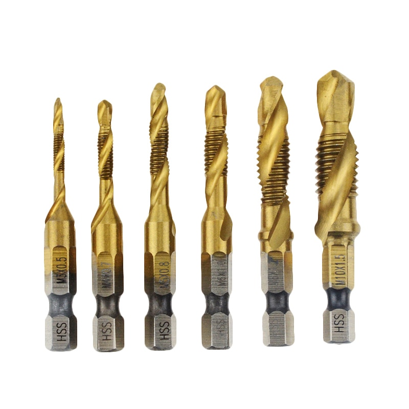 Broca manual Bits HSS 4341 tornillo espiral punto hilo M3 M4 M5 M6 M8 M10 e vástago hexagonal machos máquina Kit de conector métrico