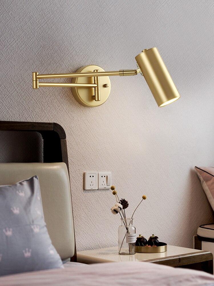 Industrial nórdico plegable telescópica lámpara de pared con brazo oscilante arte del hierro Oro Negro candelero para pared de Metal accesorios de luz estudio Studio Cafe