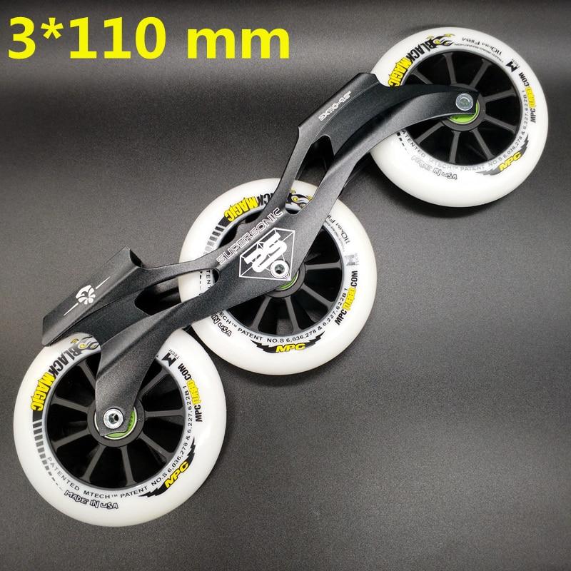 free shipping speed skates frame 3x110 with wheels bearing abec-9