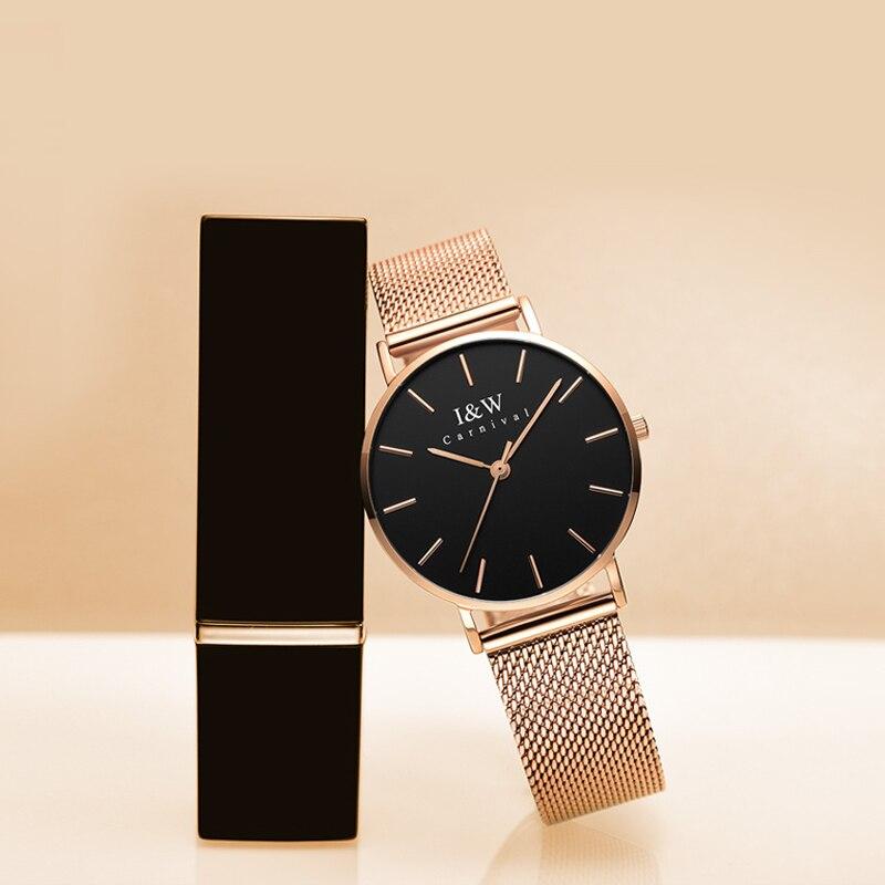 CARNIVAL Brand Women Fashion Watch Ladies Waterproof Ultra Thin Rose Gold Silver Black Casual Quartz Wristwatch Relogio Feminino enlarge