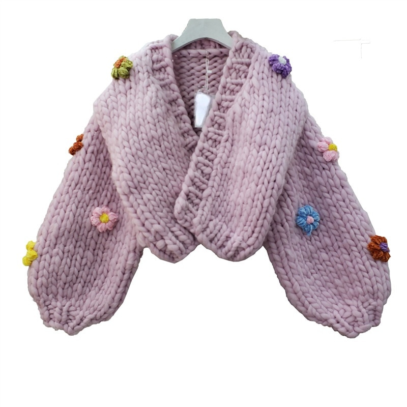 Retro Three-Dimensional Embroidered Flower Sweater Cardigan Women Autumn Winter Jacquard Hollow-Out Thickened Knitting Coat enlarge