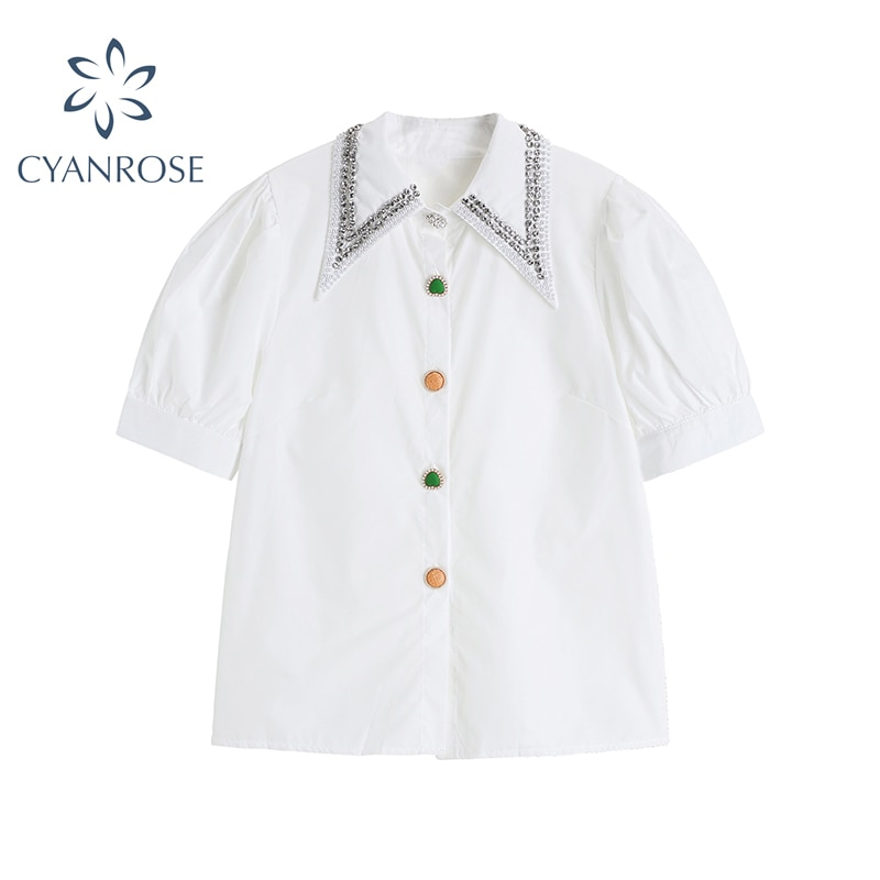 Fashion Casual Shirt Women Summer New Design Sharp Collar Short Sleeve Cardigan Top 2021 Korean Retro Puff Sleeve Lady Blouse