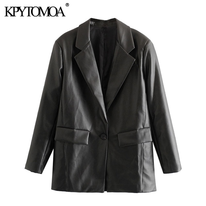 KPYTOMOA Women 2021 Fashion Faux Leather Pockets Loose Blazer Coat Vintage Long Sleeve Back Vents Female Outerwear Chic Tops
