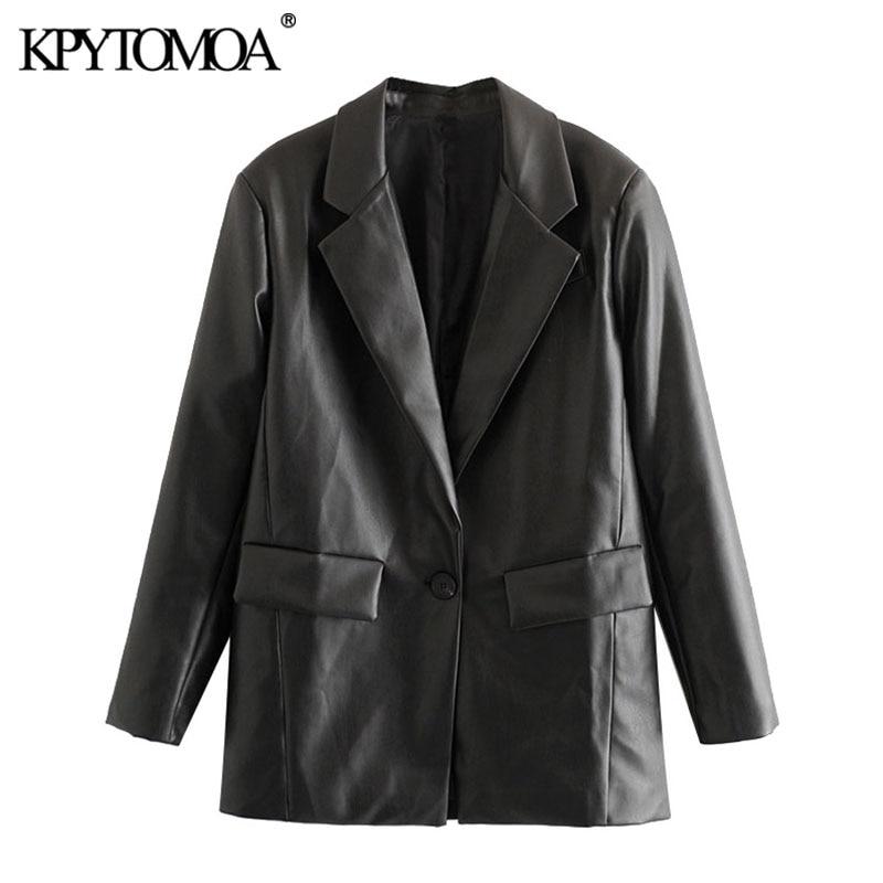 KPYTOMOA-جاكيت من الجلد الصناعي بجيوب للنساء ، معطف فضفاض عتيق ، أكمام طويلة ، فتحات خلفية ، ملابس خارجية أنيقة ، موضة 2021
