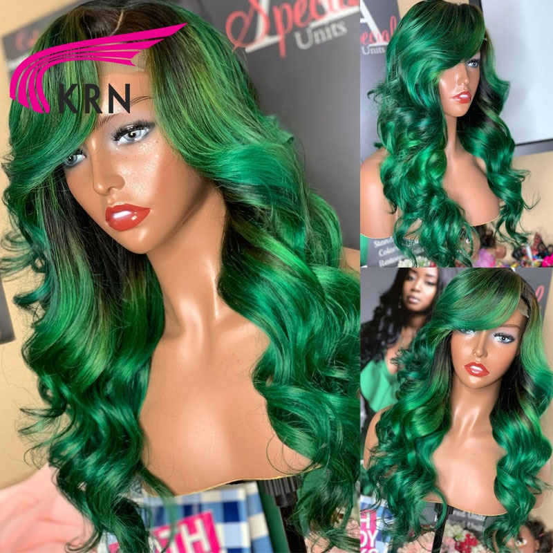 KRN Green Colored Human Hair Wigs 13X4 Ombre Wavy Lace Front Wig Brazilian Remy Hair Lace Front Human Hair Wigs For Women