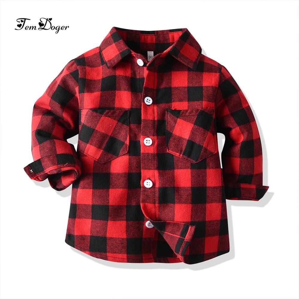 Tem doger baby junge mädchen shirts neugeborenen kostüme für baby jungen hemd langarm plaid bluse infant mädchen top rot grau bl