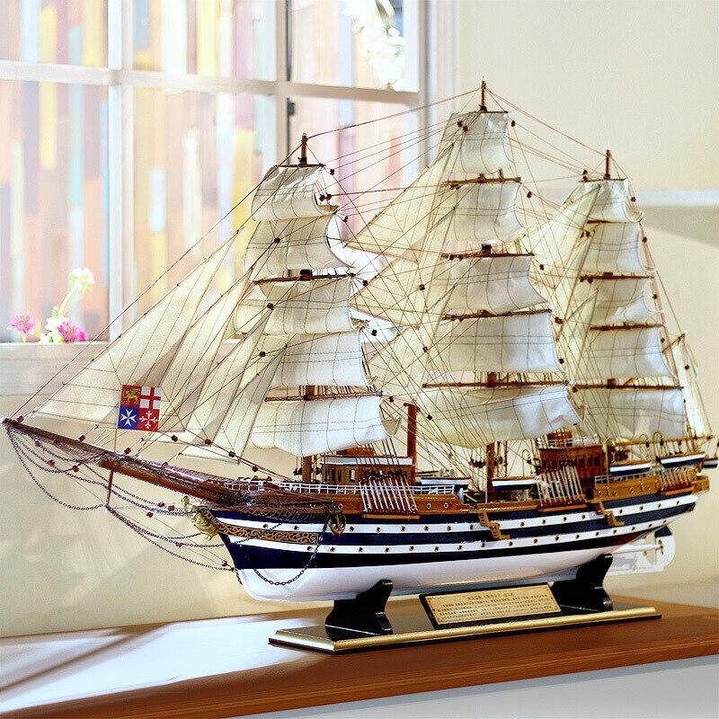 قارب خشبي تقليد مركب شراعي مقاس 90 سنتيمتر ، زخرفي كبير ، خشب صلب ، هدية سفينة مصنوعة يدويًا
