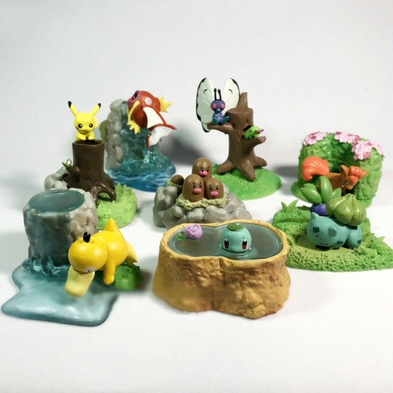 TAKARA TOMY 8pcs/set Anime Pikachu Eevee Squirtle Stump Pokemon Toys Model Desktop Action Figures Birthday Gifts for Kids