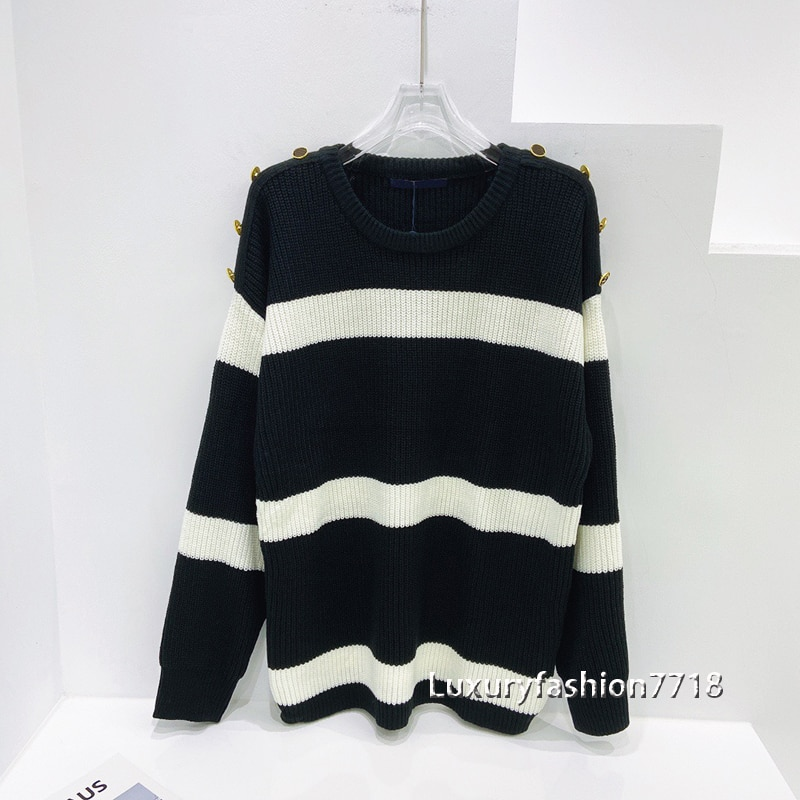 Luxury autumn 2021 fashion clothes sweater Button designer long sleeve woman o-neck sweaters high quality casual pullover jumper enlarge