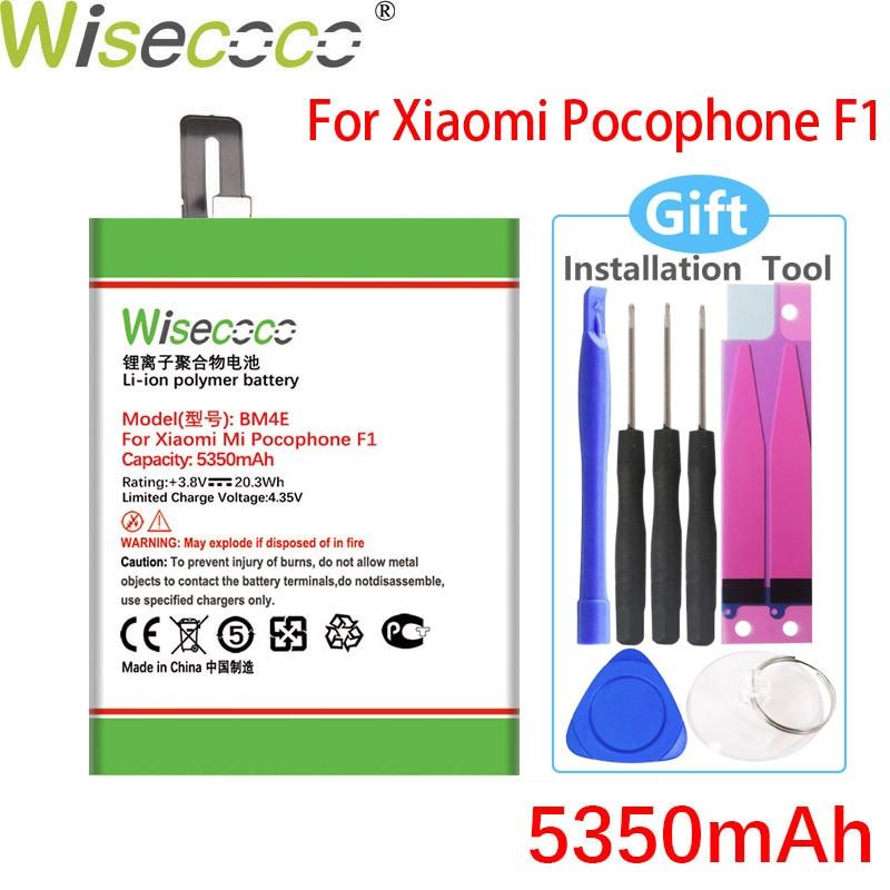 Wisecoco bm4e 5250mah bateria para xiaomi mi pocophone poco f1 telefone de alta qualidade bateria + número de rastreamento