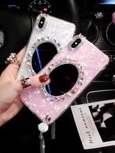 Lujoso diamante colgante borla mármol amor maquillaje espejo teléfono funda para iPhone 11 pro max 6 7 8 plus X XR XS MAX Capa de cubierta suave