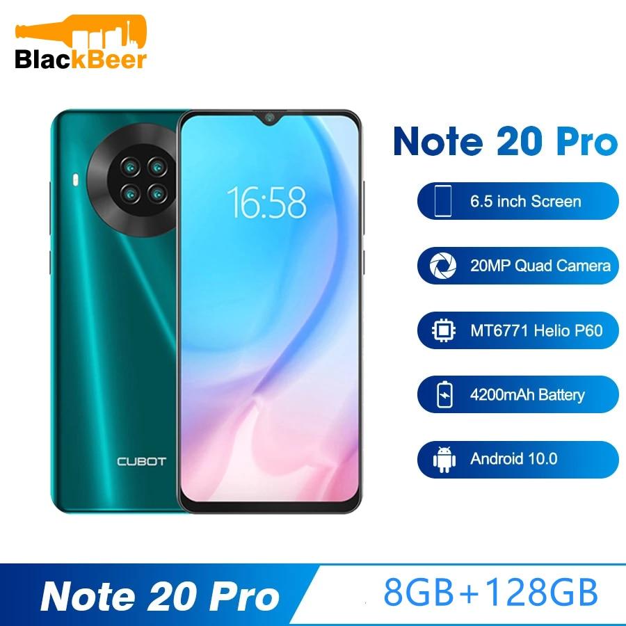 Перейти на Алиэкспресс и купить Cubot Note 20 Pro смартфон с 6,5-дюймовым дисплеем, ОЗУ 8 Гб, ПЗУ 128 ГБ, Android 10, мобильный телефон с двумя sim-картами, 4G, 12 МП, камера заднего вида, 4200 мАч, NFC