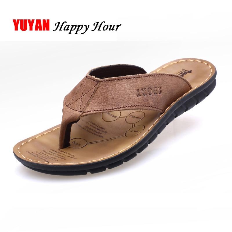 2021 Summer Shoes Men Slippers Genuine Leather Beach Slippers Mens Flip Flop Sandals Summer Men Shoes Male Flip Flops A673
