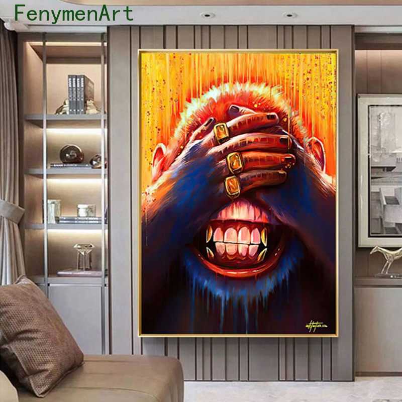 Abstract Gold Monkeys Decorative paintings Graffiti Pop Art Animal Canvas Paintings Bar Bedroom Decor Modern Wall Posters Prints