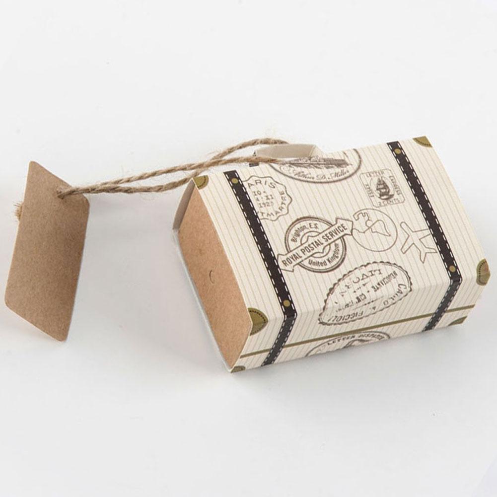 Maleta de caramelo caja regalos de boda Cajas de Regalo de papel para viajar con la tarjeta y arpillera EVENTO DE CUMPLEAÑOS proveedor de fiesta