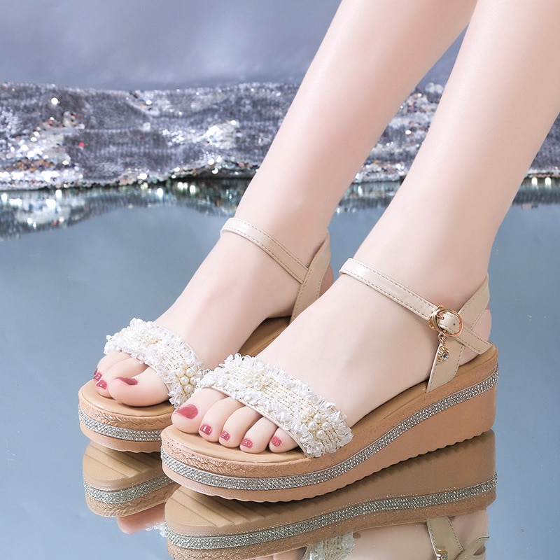 Summer New Style Simple Elegant Casual Comfortable Fashionable All-match Thick-soled Sponge Cake Slope with Sandals Heels Women